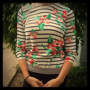 Lands End floral sweater