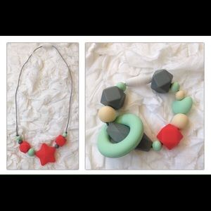Beautiful new teething necklace / ring boy or girl