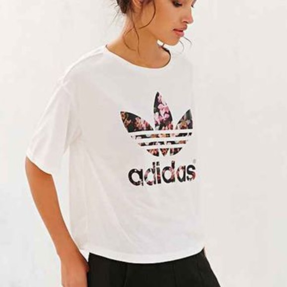 adidas white crop top