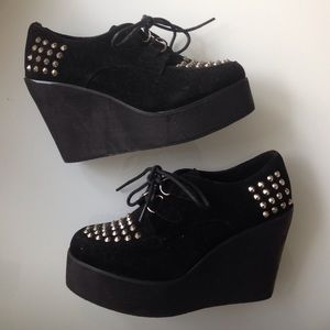 Shoes - Studded Black Flatforms