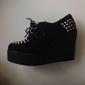Shoes - Studded Black Flatforms