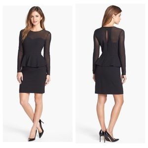 Illusion Yoke Peplum Sheath Dress