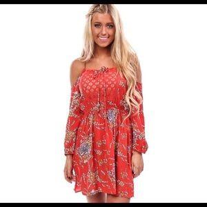 Open shoulder red floral dress