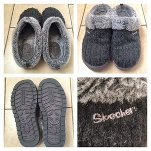 Skechers Shoes - SKECHERS SLIPPERS Cable-Knit Faux Fur