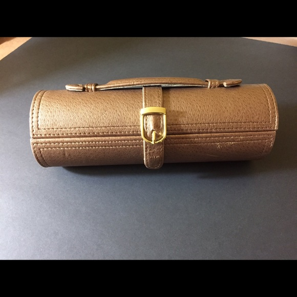 Tuscan Designs Jewelry Leather Cylinder Roll Travel Case W Snaps