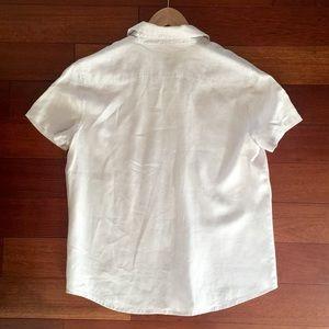 GAP Tops - GAP light grey linen short sleeve shirt
