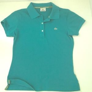 Lacoste Tops - Lacoste TShirt size 40. Teal color with Green trim