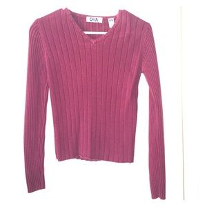 Q&A Sweaters - Q&A Maroon Sweater Vneck
