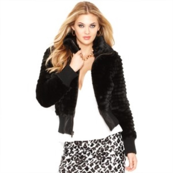 Guess Faux Fur Bomber Jacket NWT