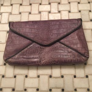 Purple leather envelope clutch