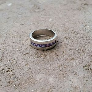 Jewelry - Sterling silver princess amethyst band ring, new 6