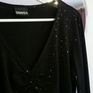 Baranda Tops - Black Bell Sleeve Rouched Top W/Sequin