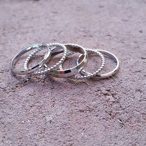 Jewelry - New, set of 5 sterling silver midi rings, size 6