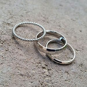 Jewelry - Set of 3 sterling silver midi knuckle rings size 6
