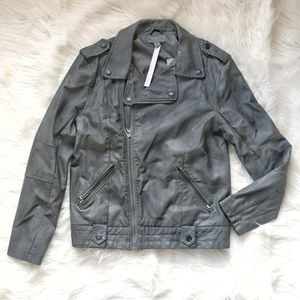 Urban Outfitters Jackets & Blazers - Charcoal Leather Moto Biker Jacket