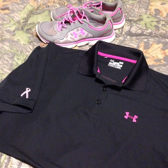 under armour breast cancer. under armour tops - breast cancer awareness polo