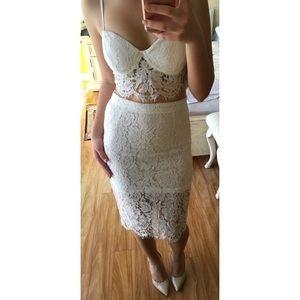 89888329a56 Dresses - White Two Piece Eyelash Lace Bustier Bodycon Dress