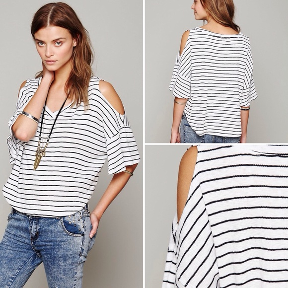 e7404989a025e Free People Tops - Free People Cold Shoulder Stripe Tee