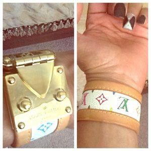 %Authentic LV White Multicolor Monogram Bracelet