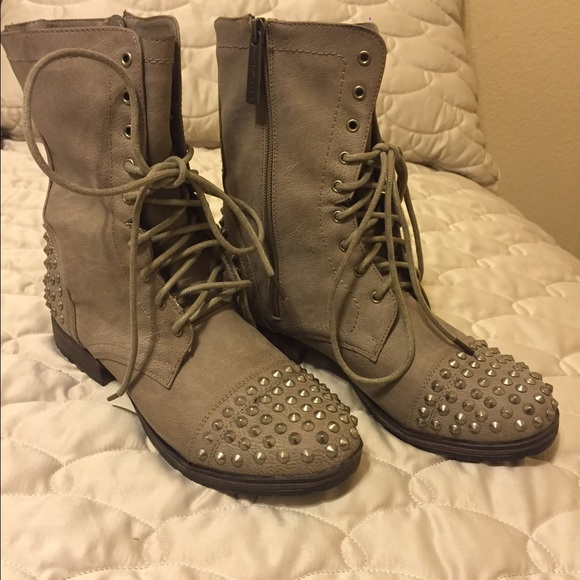 27% off JustFab Shoes - 🌟Final Price🌟 Grey Studded Combat Boots ...
