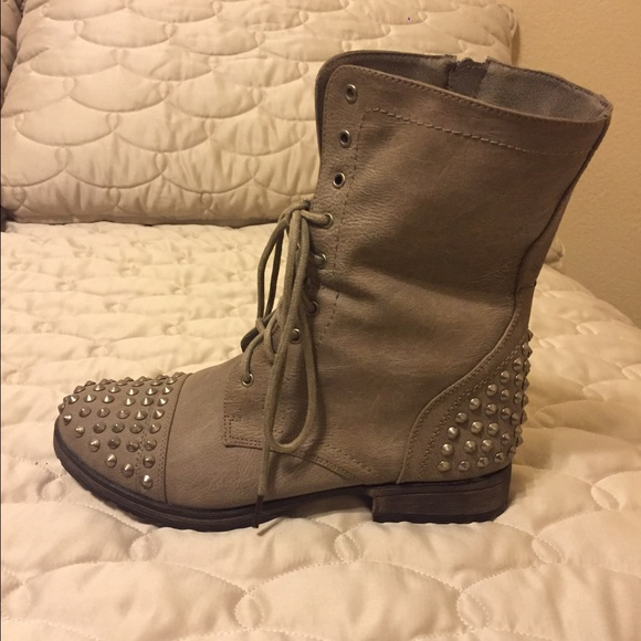 27% off JustFab Shoes - 🌟Final Price🌟 Grey Studded Combat Boots