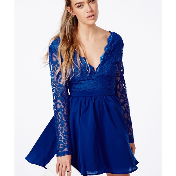 Blue Long Sleeve Lace Skater Dress Missguided Nwt