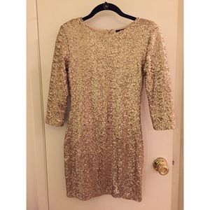 Gold Sequin Long Sleeve Dress | TFNC London