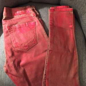 "Red metallic painted True Religion Jeans ""Halle"""