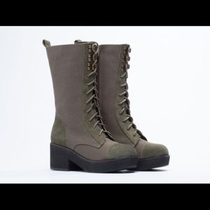 YES Shoes - Green military combat boot - with box