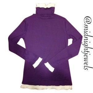 Purple sweater white lace turtleneck size medium
