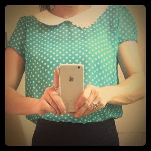 Poof Couture  Tops - Vintage inspired polka dot sheer shirt