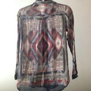 Zara Tops - Zara Boho Printed Chiffon Shirt