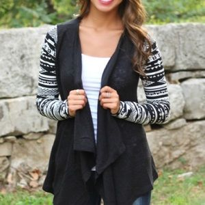 Sweaters - SHIPS NOW! Waterfall cardigan black tribal print