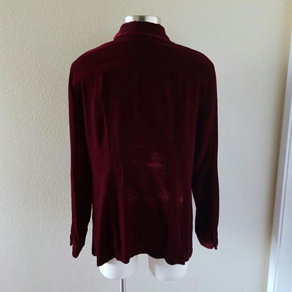 68 off merona tops burgundy crushed velvet long sleeve for Red velvet button up shirt