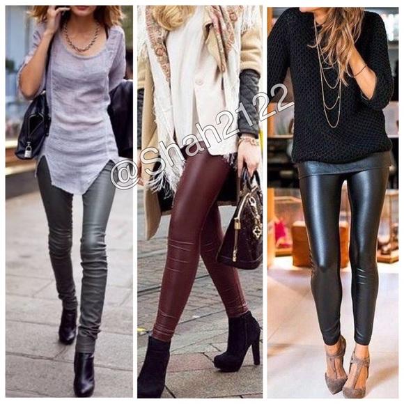 97c37755564567 Boutique Pants | Faux Leather Leggings High Waist Fleece Lined ...