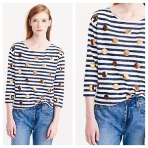 J. Crew Black Striped Tee w Gold Polka Dots Sz XXS