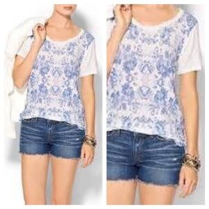 Anthropologie French Blue Mirrored Floral Tee Sz S