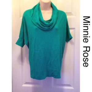 Minnie Rose aqua cowl neck sweater. Great conditio