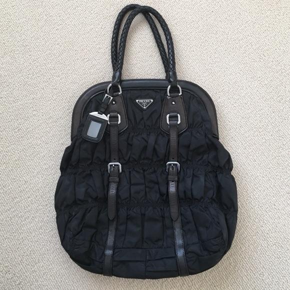 c072b84b19f58f Prada Bags | Black Tessuto Gaufre Frame Bag | Poshmark