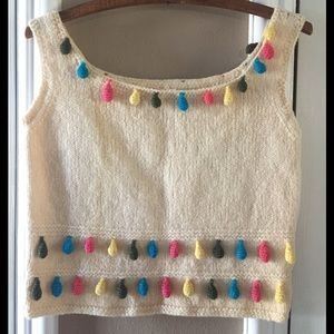 Vintage 70's Multi Colors Knit Crop Top