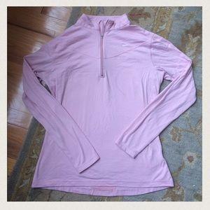 NIKE pink 1/4 zip workout top