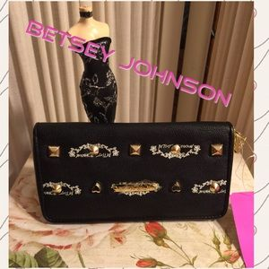 SALENWT-BETSEY JOHNSON BLACK SIGNATURE WALLET