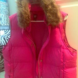 GAP VEST hot pink  with detachable hood