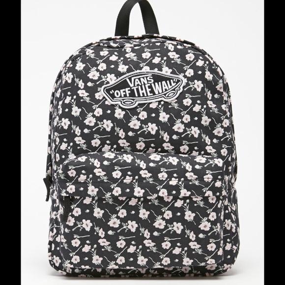 166e1ada4ba Vans Bags | Black And White Floral Backpack | Poshmark