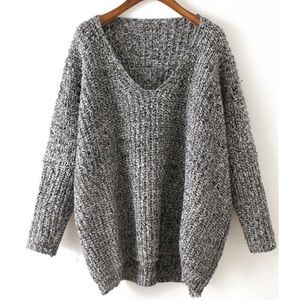 Sweaters - V Neck Chunky Knit Sweater