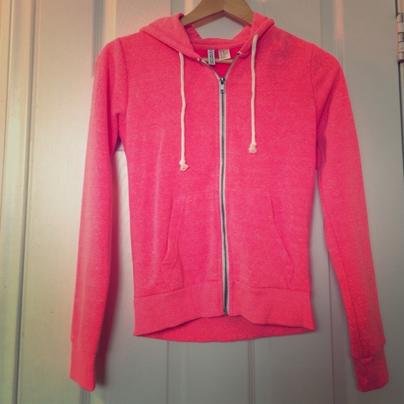 71% off H&M Tops - H&M neon pink zip up hoodie from Leah's closet ...