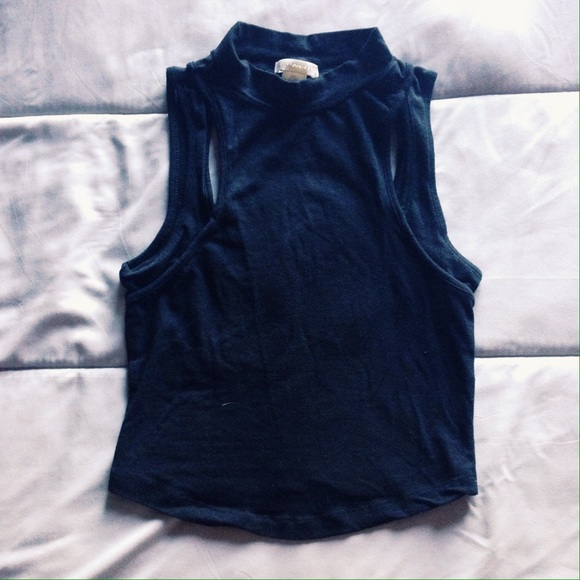 Tops - High Neck Crop with Cut-Outs