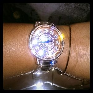 Geneva Rose Gold Watch w/ Crystal Hour Markers!