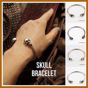Silver Skull Bangle Bracelet