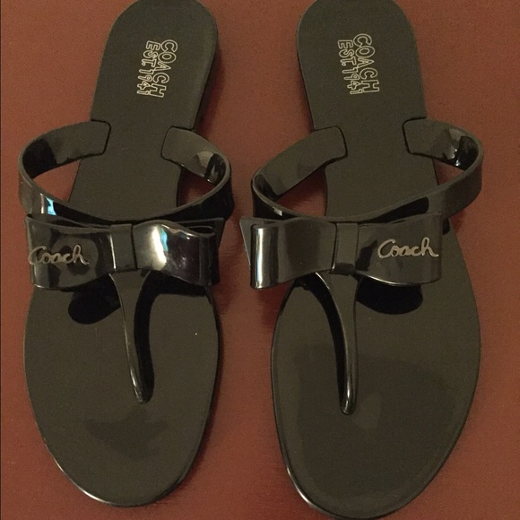 72c65e4f521d1b Coach Shoes - COACH BLACK PATENT LEATHER BOW FLIP FLOP SANDALS